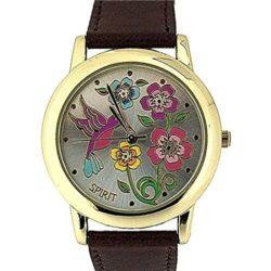 Spirit Ladies Floral Dial Gold Tone Bezel Brown PU Casual Strap Watch – ASPL44