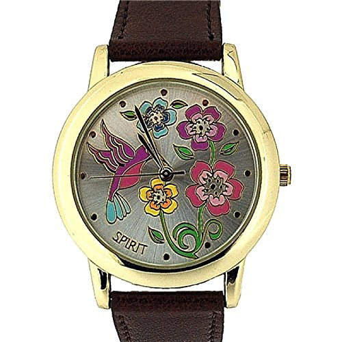 Spirit Ladies Floral Dial Gold Tone Bezel Brown PU Casual Strap Watch – ASPL44