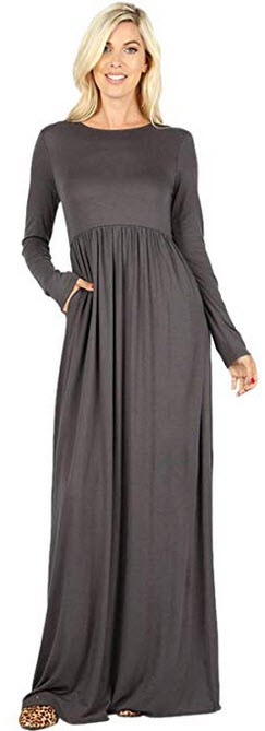 Sportoli Maxi Dresses for Women Solid Lightweight Long Casual Long Sleeve W/Pocket ash grey