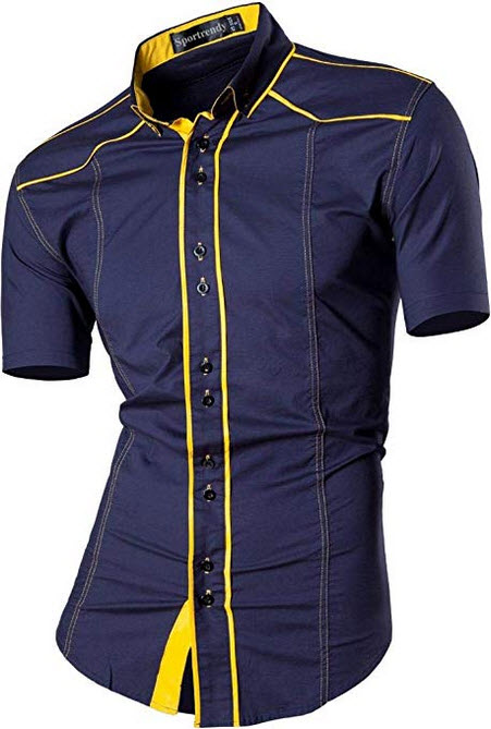 Sportrendy Men's Slim Fit Casual Short Sleeves Button Down Dress Shirts Tops JZS055 navy