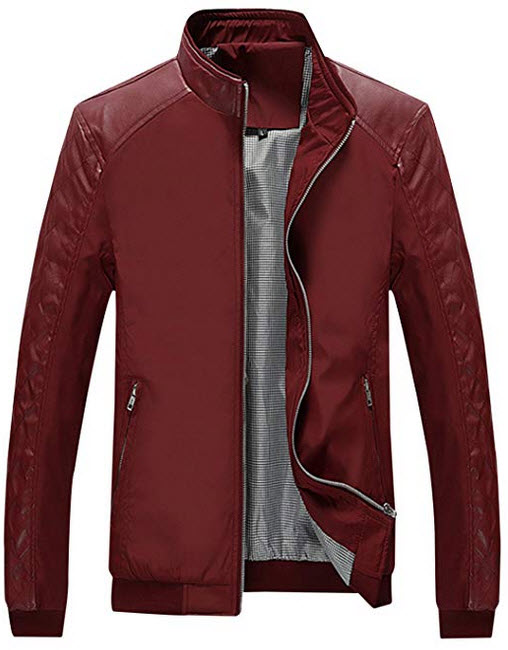 Springrain Men's Casual Stand Collar Slim PU Leather Sleeve Bomber Jacket wine red