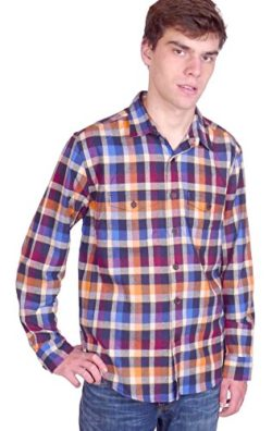 Squish Mens Long Sleeve Cotton Flannel Shirt – Harvest Plaid