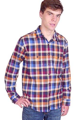 Squish Mens Long Sleeve Cotton Flannel Shirt – Harvest Plaid