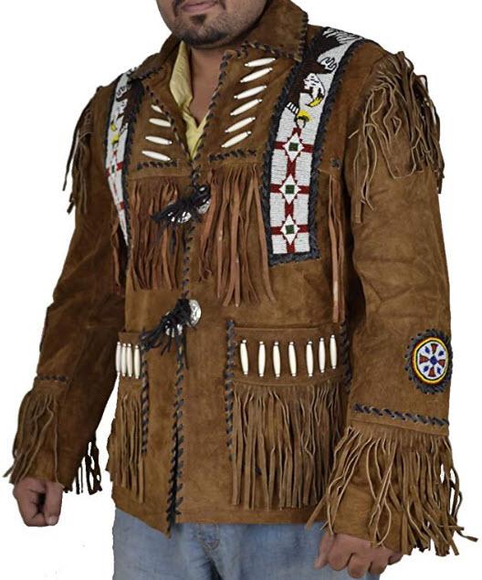 SRHides Men's Western Cowboy Suede Leather Jacket Fringed & Beaded