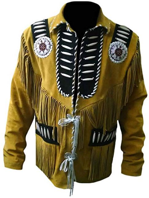 SRHides Men's Western Fringed, Beaded & Boned Leather Jacket, suede