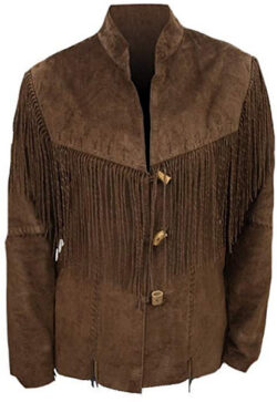 SRHides Men's Western Suede Leather Fringed Coat