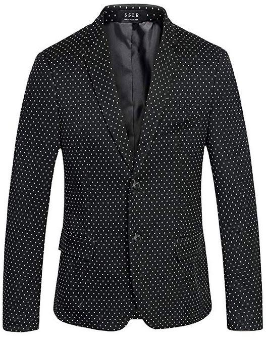 SSLR Men's Polka Dots Two Button Casual Knit Blazer Jacket black