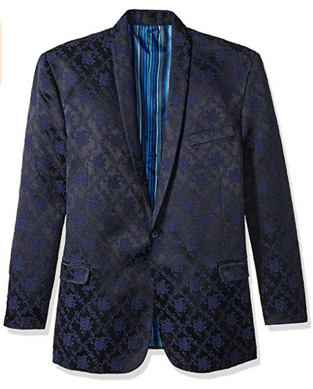 Stacy Adams Men's Big and Tall Scott Floral Sports Coat navy