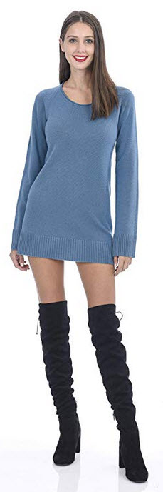 State Cashmere Women's Cashmere Long Sleeve Crew Neck Sweater Dress blue