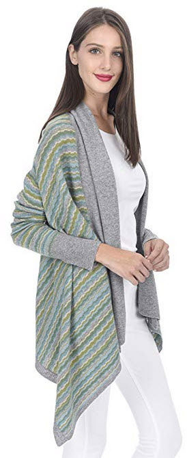 State Cashmere Womens Cashmere Printed Open Front Cape Cardigan Poncho Top aqua