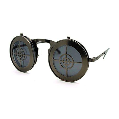 Steam Punk Divers Helmet Iron Grid Flip Up Retro Circle Lens Sunglasses