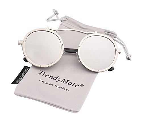 Steampunk Round Men Metal Driving Circle Sun Glasses Women Vintage Retro Sunglasses by TrendyMate