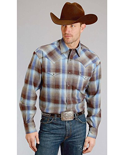 Stetson Mens Brushed Twill Flannel Snap Shirt