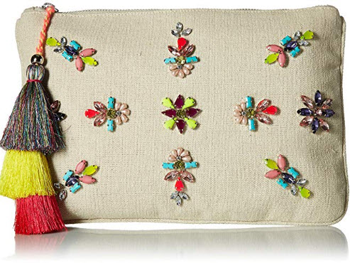 Steve Madden Belle Oversized Bohemian Multi Colored Jewels and Rhinestones Fabric Clutch, natural
