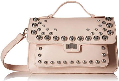 Steve Madden Mary NONLEATHER FRONTFLAP Silver Studded Satchel Handbag, blush