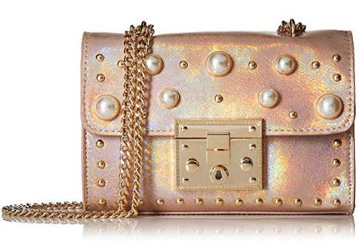 Steve Madden Prince Push Lock Mini FLAPOVER Crossbody with Pearls, Ladies PU Satchel, blush