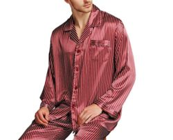 Stomsera Great Gifts Mens Silk Satin Pajamas Set Loungewear Plus Striped