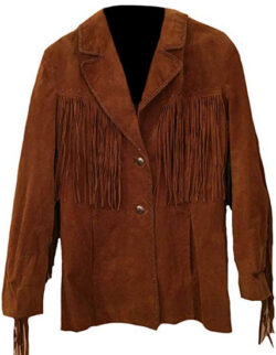 Stormwise Men's Western Suede Coat with Fringes, brown