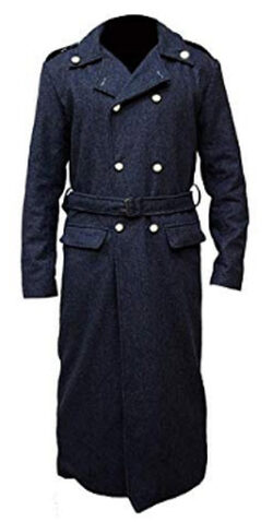 Streamline choice Mens Doctor Who Captain Jack Harkness John Long Trench Coat, black