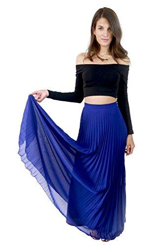 Studio 15 Womens Cobalt Blue Pleated Maxi Skirt