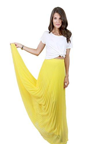Studio 15 Womens Yellow Pleated Maxi Skirt