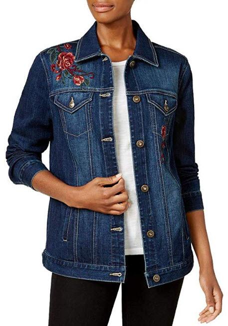 Style & Co. Aurora Embroidered Denim Trucker Jacket, aries