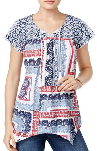 Style & Co. Patchwork-Print Tie-Neck Top, parade white