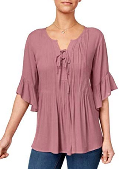 Style & Co. Petite Pintucked Peasant Top, french tulip