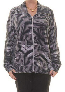 Style & Co. Sport Womens Velour Animal Print Athletic Jacket grey multi