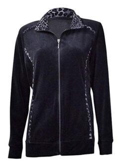 Style & Co. Womens Animal-Trim Velour Zip Jacket deep black