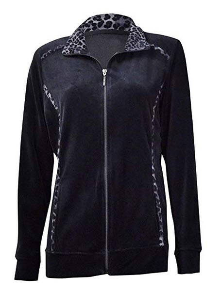 Style & Co. Womens Animal-Trim Velour Zip Jacket deep black