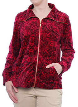 Style & Co. Womens Printed Velour Zip Jacket prussian red