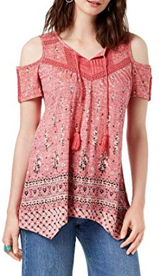 Style&Co Tasseled Peasant Top, deep blossom