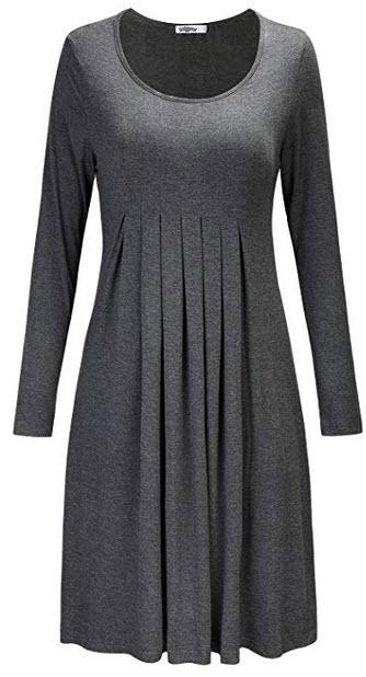 STYLEWORD Women's Long Sleeve Pleated Loose Swing Casual Dress gray
