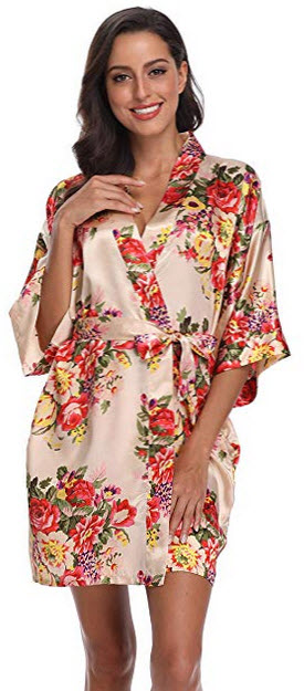 SUGAR JAN Women's Floral Satin Kimono Short Robes with Pockets for Wedding Party champagne