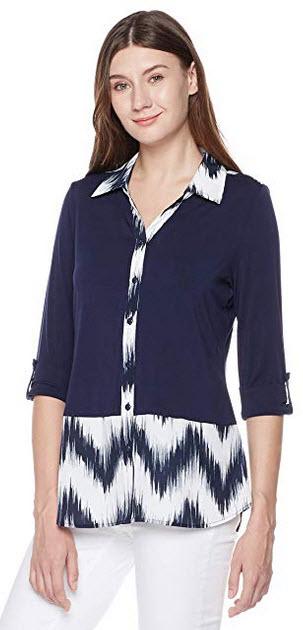 Suite Alice Short Sleeve Color Block Woven Shirt print