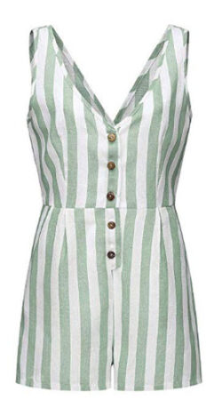 SULEAR New Summer Casual Rompers Women Striped Sleeveless High Waist Button Down Sexy Short Jump ...
