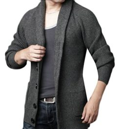 sull Mens Shawl Collar Long Sleeve Knitted Button Down Cardigan Sweater