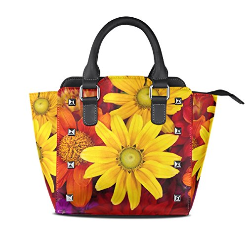 Sunlome Gerbera Autumn Flower Colorful Floral Women's Leather Tote Shoulder Bags Handbags