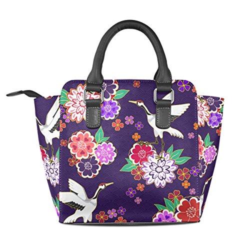 Sunlome Retro Crane Floral Pattern Handbags Women's Leather Tote Shoulder Bags