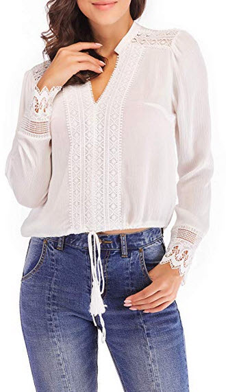SUNNOW Women's White Lace Splicing V Neck Tees Elegant Long Sleeve Crochet Trim Blouse Top ...