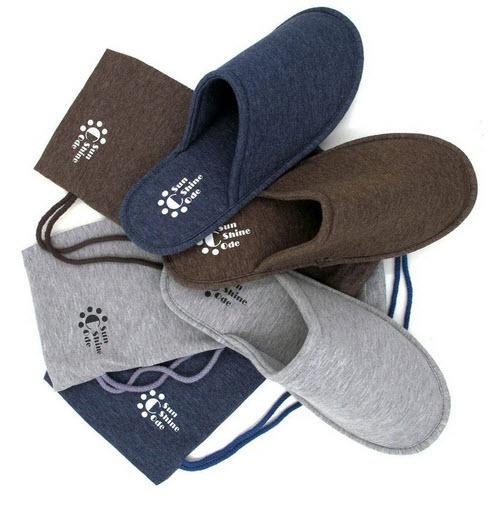 Sunshine Code Men's Cotton Indoor Washable Slippers in Travel Bag for Home Hotel Spa Bedroom .