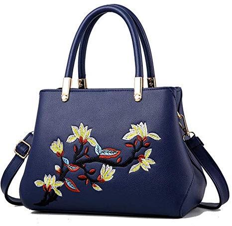 Sunwel Fashion Women's Embroidered Flowers Handbag blue