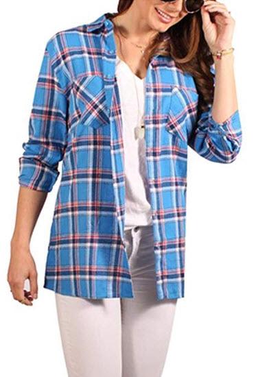 SUPERC Womens Long Sleeve Boyfriend Plaid Flannel Shirt Pockets 8462_purple White Red Plaid