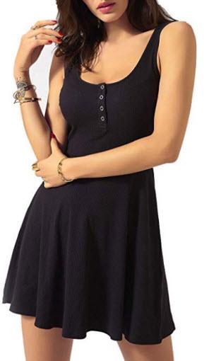 Sviuse Women's Summer Basic Sleeveless Swing Skater Sundresses Casual Mini Tank Dress, black