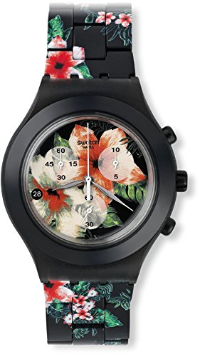 Swatch SVCF4002AG Flower Breeze Black Dial Floral Aluminium Band Women Watch NEW