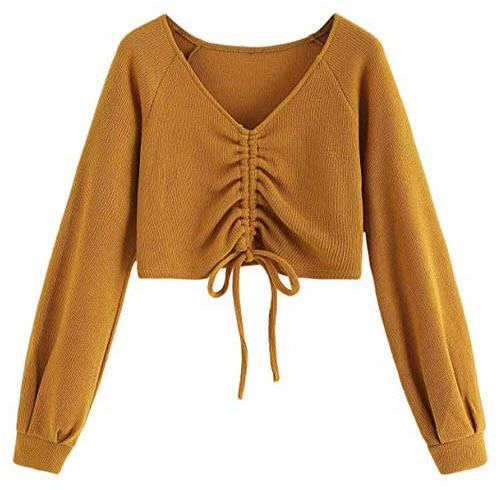 SweatyRocks Women's Casual Long Sleeve V Neck Tie Ruched Knit Crop Top Sweater mustard