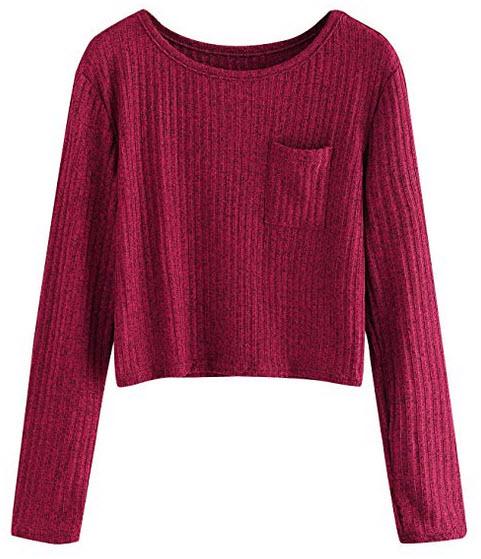 SweatyRocks Women's Long Sleeve Crewneck Knitted Crop Top Casual Blouse T-Shirt burgundy