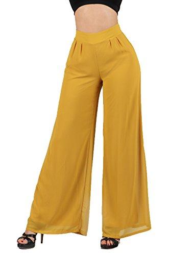 SWTD Womens High Waist Flowy Wide Flare Bottom Palazzo Dressy Pants