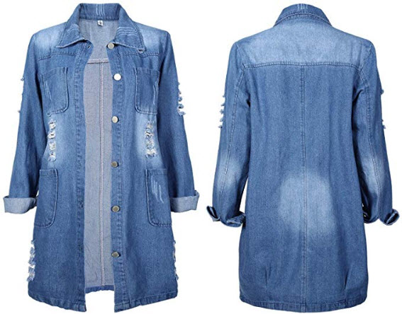 Syhood Long Denim Jacket Casual Jean Jacket Long Sleeve Denim Jacket Coat for Women Favors, Ligh ...